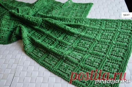 Ажурный шарф спицами узором Chaukor.