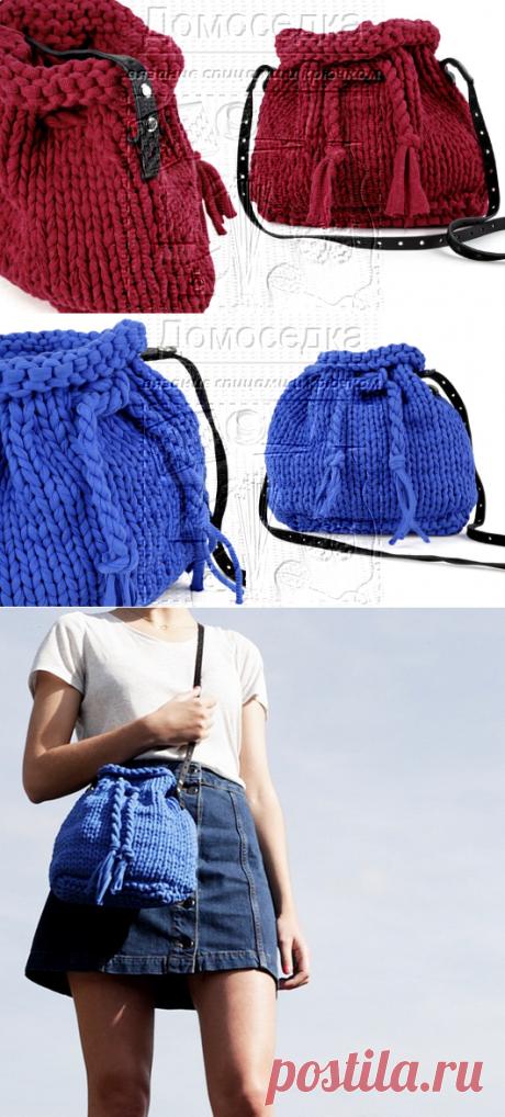 Вязаная спицами сумка | ДОМОСЕДКА