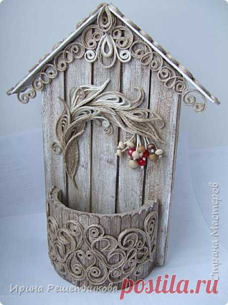 Мастер-класс по джутовой филиграни: Картонно-деревянно-джутовая ключница Рябинушка