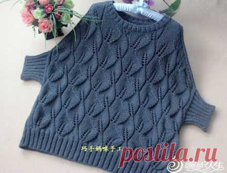 Простой, но эффектный пуловер с листьями   Вязание спицами и крючком   Яндекс Дзен