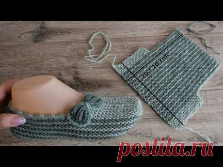 Легкие тапочки на двух спицах | Easy slippers knitting pattern