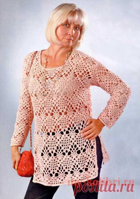 Шикарная ажурная туника крючком для полных женщин - Колибри Лишние килограммы это еще не повод отказывать себе в удовольствии носить красивые вещи, правда? Я не