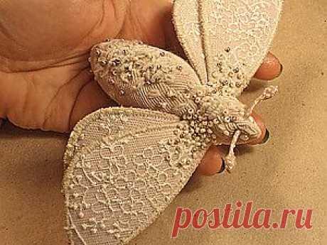 Текстильная брошь- мотылек - Ярмарка Мастеров - ручная работа, handmade