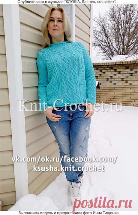 Бирюзовый свитер на спицах. - Cвитеры женские на спицах - Вязание спицами - Каталог статей - Вязание спицами и крючком