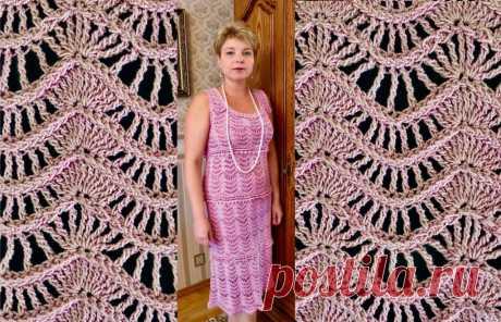 """Платье крючком узором «Волна» - Lilia Vignan """"Майорка"""" от Ванессы Монторо - это платье, связанное крючком узором """"Волна"""".Оно может привлечь многих - и любительниц платьев простых фасонов и любительниц романтического стиля."""