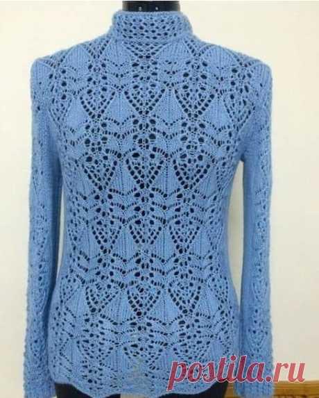 ¡Hermosamente y rigurosamente! Japonés azhur por los rayos: el esquema para el pulóver de estilo...