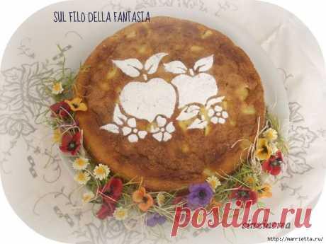 Яблочный пирог. Простой рецепт, но очень оригинальное оформление.
