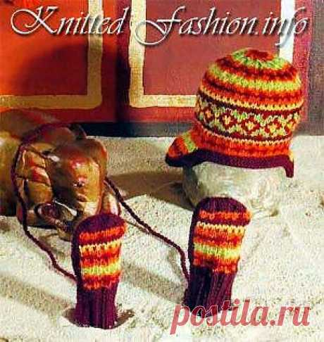Hat with ears and mittens with jacquard drawing - KnittedFashion.info