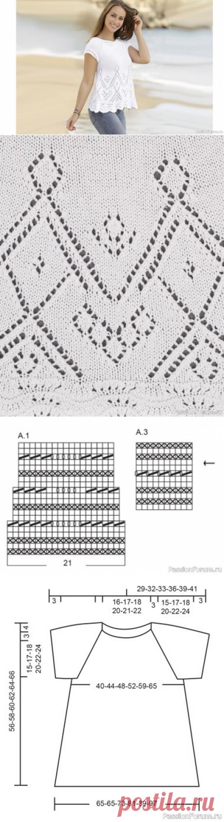 Летняя нежная кофточка. Схемы | Вязание для женщин спицами. Схемы вязания спицами