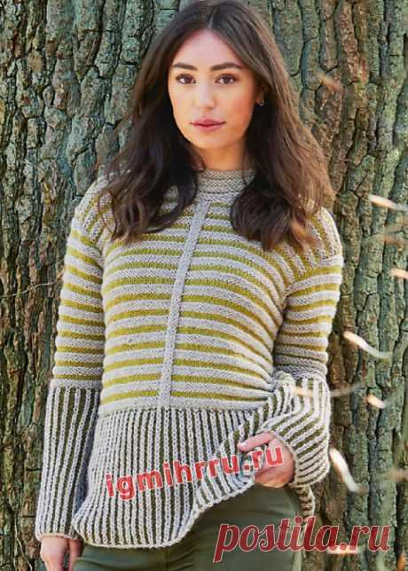 Шерстяной пуловер с двухцветными узорами. Вязание спицами со схемами и описанием