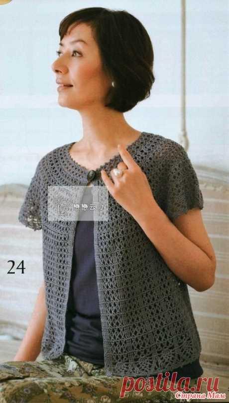 Летний жакет с круглой кокеткой. Крючок. let`s knit series 80494
