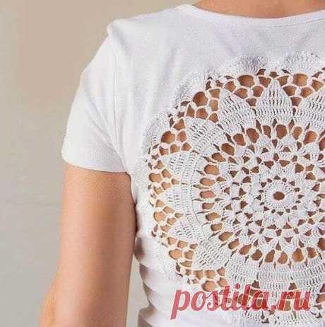 Любую футболку можно украсить вязаным мотивом! из категории Интересные идеи – Вязаные идеи, идеи для вязания