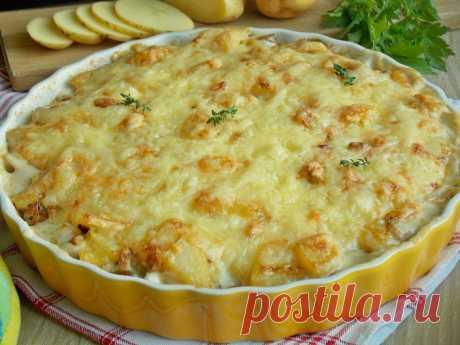 Картофельная запеканка с лисичками и сыром KuchniaMniam
