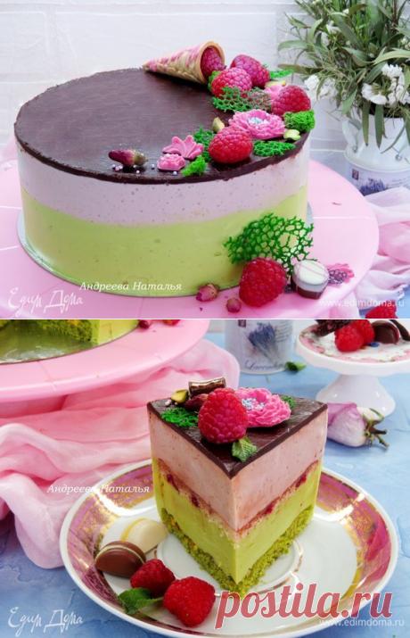 Торт «Птичье молоко» со вкусом малины, фисташек и розы. Ингредиенты: яйца куриные, сахар, сахар ванильный