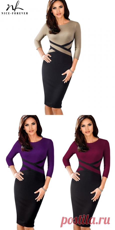Хороший навсегда Винтаж элегантный контраст Цвет Лоскутная носить на работу vestidos Бизнес вечерние офисные Для женщин облегающее платье B463 купить на AliExpress