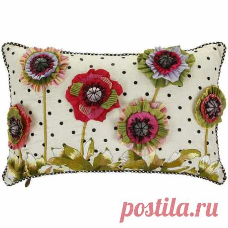 MacKenzie-Childs Cutting Garden Pillow - 56x36cm - Lumbar found on Polyvore featuring polyvore, home, home decor, throw pillows, ivory throw pillows, handmade home decor, flower stem, flower throw…