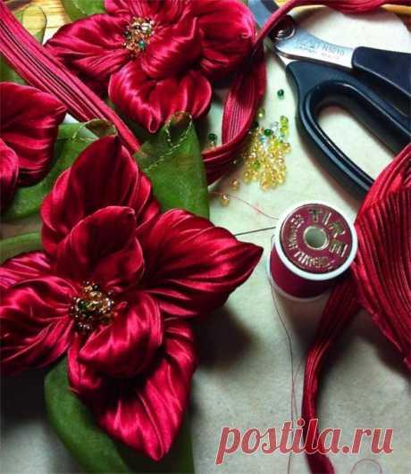 Цветы в технике шибори