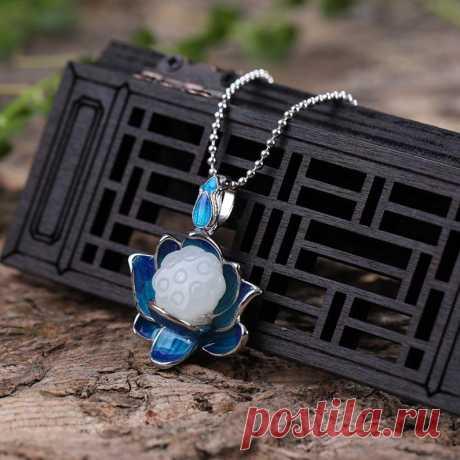 Lotus Necklace-Clavicle Necklace-Hetian Jade Lotus | Etsy