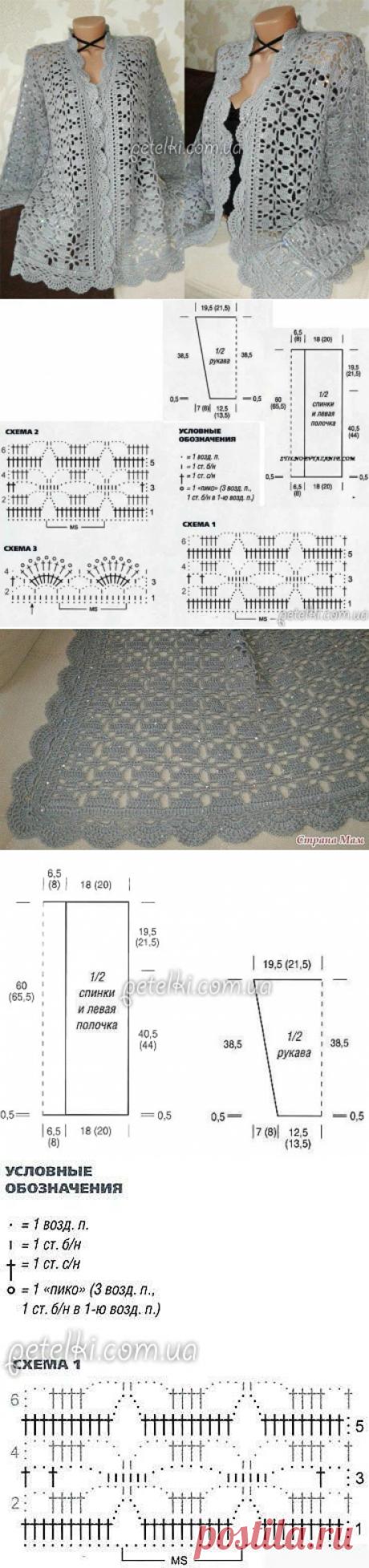 Серый жакет крючком от Светланы Заец. Описание и схемы вязания