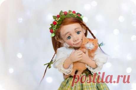 Ariana-девочка гном. Кукла выполнена в технике сухое валяние.