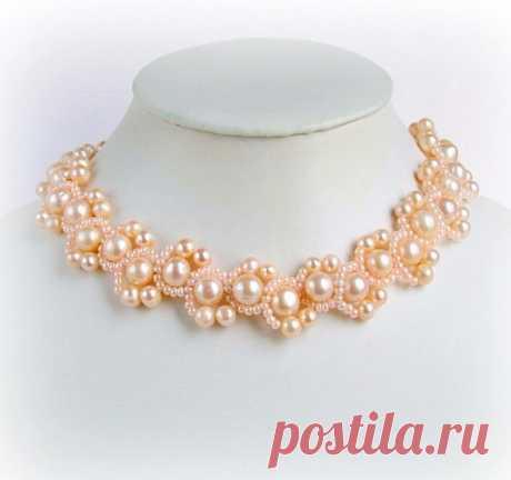 Ожерелье *Персиковый восторг*с жемчугом.Схема плетения