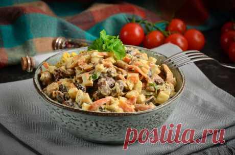 """Салат """"Белорусский"""" с печенью и грибами - вкусный рецепт на любой праздник."""