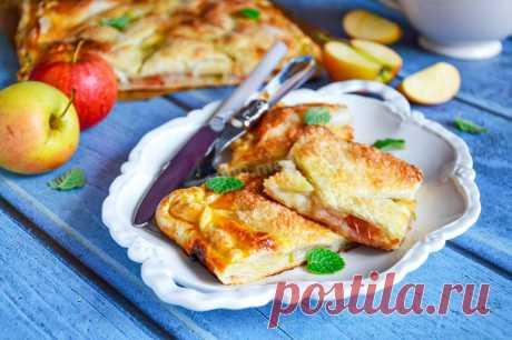 Пирог из слоеного теста с яблоками рецепт с фото пошагово и видео - 1000.menu