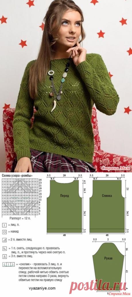 Пуловер узором из ажурных ромбов - Вязание спицами - Страна Мам
