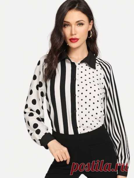 Shop Two Tone Mixed Print Blouse online. SheIn offers Two Tone Mixed Print Blouse & more to fit your fashionable needs.