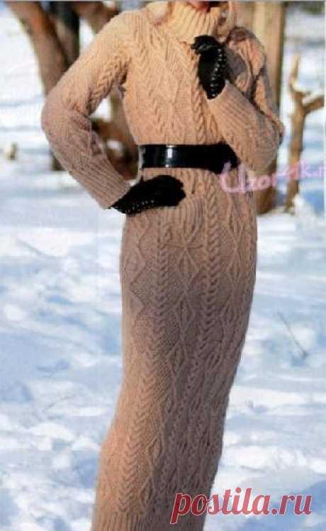 Длинное зимнее платье спицами - Описание вязания, схемы вязания крючком и спицами | Узорчик.ру