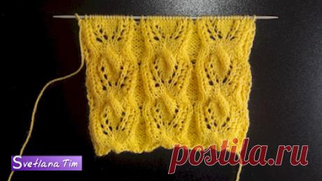 Схемы вязания крючком.Схемы вязания спицами: Ажурный фантазийный узор. Вязание спицами # 456