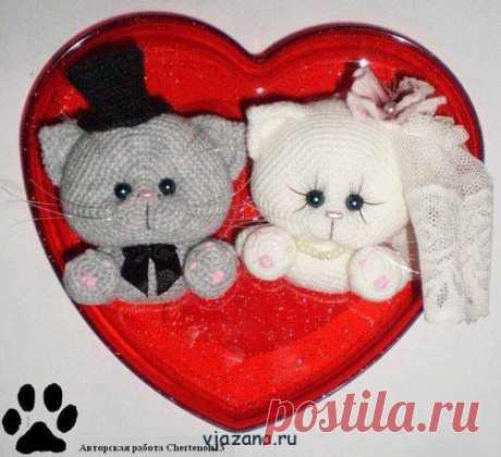 котята связанные крючком подарок к дню влюбленных | Вязана.ru