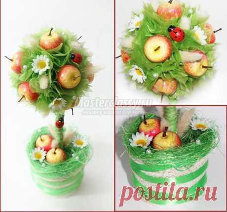 Яблочный топиарий своими руками. Мастер-класс с пошаговыми фото