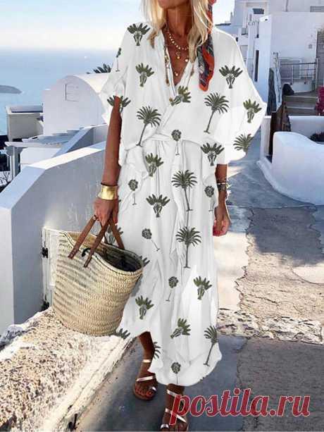 Bohemian Women Short Sleeve V Neck Floral Print Maxi Dress - US$41.64