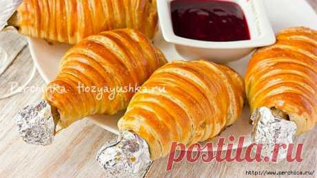Chicken legs in puff pastry