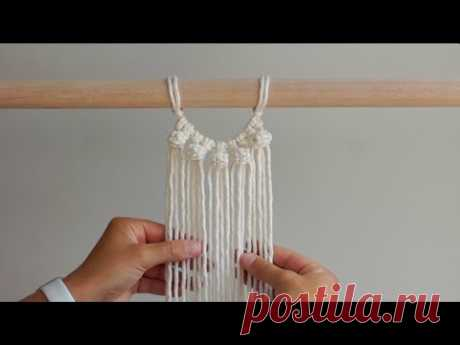 DIY Macrame Tutorial - How To Start Your Work Using Berry Knots! Semi-Circle Pattern