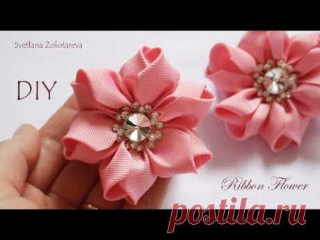 Цветок из ленты Резинки для волос Светлана Золотарева - YouTube
