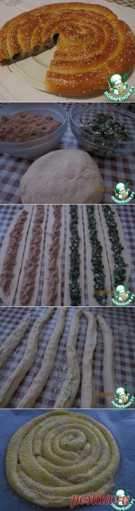 Спиральный пирог с начинкой - кулинарный рецепт