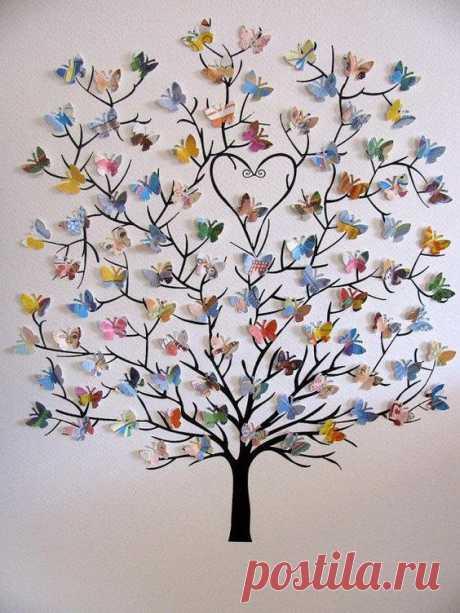 Мы уже размещали идеи семейных деревьев: нарисованных, из полимерной глины и виниловых наклеек. Сегодня ещё одна идея — семейное дерево с сердечками и бабочками. На красивой дизайнерской бумаге…