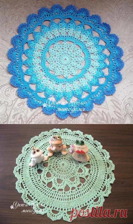 Круглые скатерти крючком со схемами фото 363