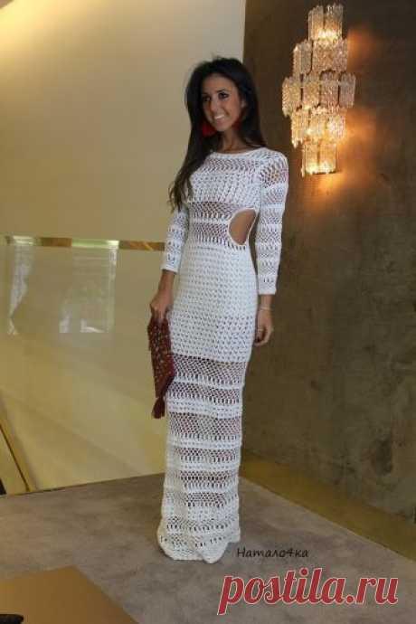 Красивучее вечернее платье крючком (без схем)