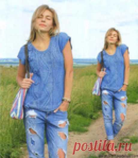 Стильный синий топ - отличная модель под джинсы