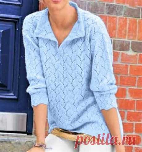 Тёплый ажурный пуловер с описанием и схемами | Идеи рукоделия | Яндекс Дзен