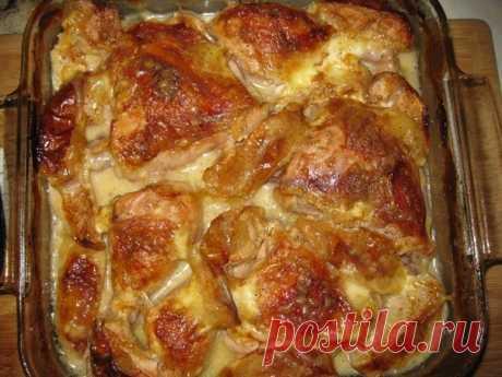 Как приготовить куриные ножки запеченные с яблоками. - рецепт, ингредиенты и фотографии