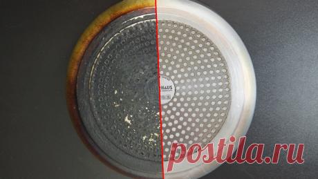 Вылил на сковороду пузырек нашатыря и завязал ее плотно в пакет. Через 12 часов нагар сам отвалился: цена средства 6 руб 30 коп