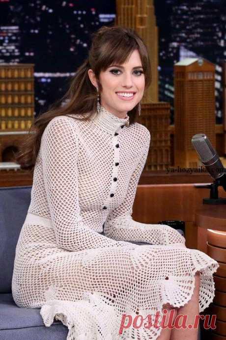 Платье с ажурной отделкой. Романтическое платье в филейной технике. Платье с отделкой ракушками. Романтическое платье в филейной технике.