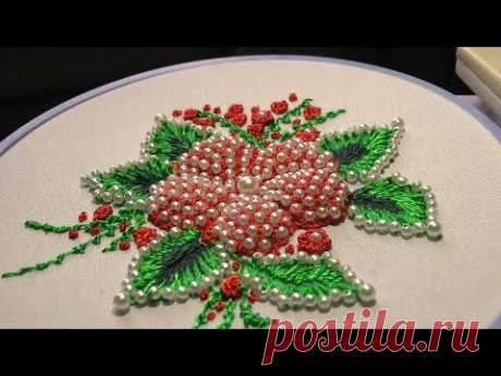 ВЫШИВКА: ПУФ с бисером  \   EMBROIDERY : Puffed with beads  Detached Stitch