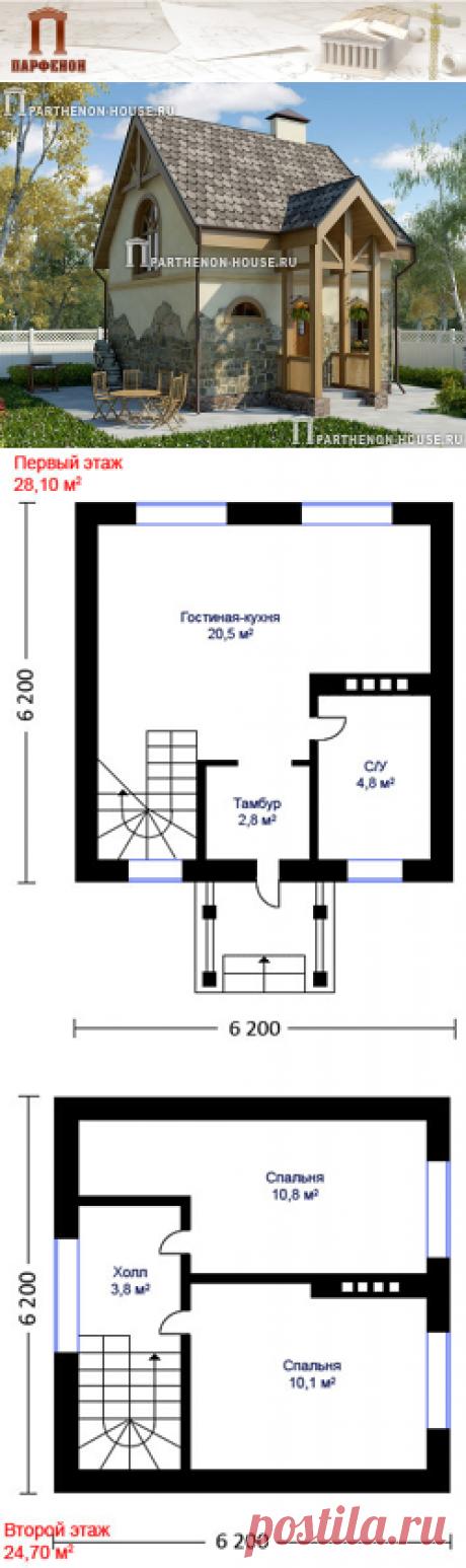 Проект небольшого дома с мансардным этажом НД 52-8 Проект небольшого дома с мансардным этажом.   Область строительства: климатические условия России с показателем градусо-сутки отопительного периода ГСОП до 5000°С сут.   Площадь общая: 52,80 кв.м. Высота потолков 1 этажа: 2,600 м. Высота потолков 2 этажа: от 1,200 м. до 3,000 м.   Технология и конструкция: строительство дома из газобетона. Фундамент: монолитная ж/б лента. Стены: из газоблоков толщиной 375 мм.