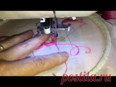 Как настроить швейную машинку с горизонтальным челноком на вышивку - 2 часть. Для начинающих .