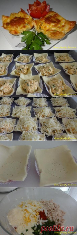 Закуска из слоеного теста с курицей/Сайт с пошаговыми рецептами с фото для тех кто любит готовить